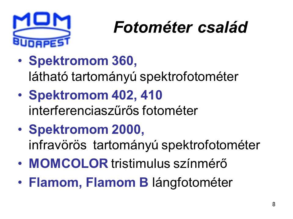 8 Spektromom 360, látható tartományú spektrofotométer Spektromom 402, 410 interferenciaszűrős fotométer Spektromom 2000, infravörös tartományú spektrofotométer MOMCOLOR tristimulus színmérő Flamom, Flamom B lángfotométer Fotométer család