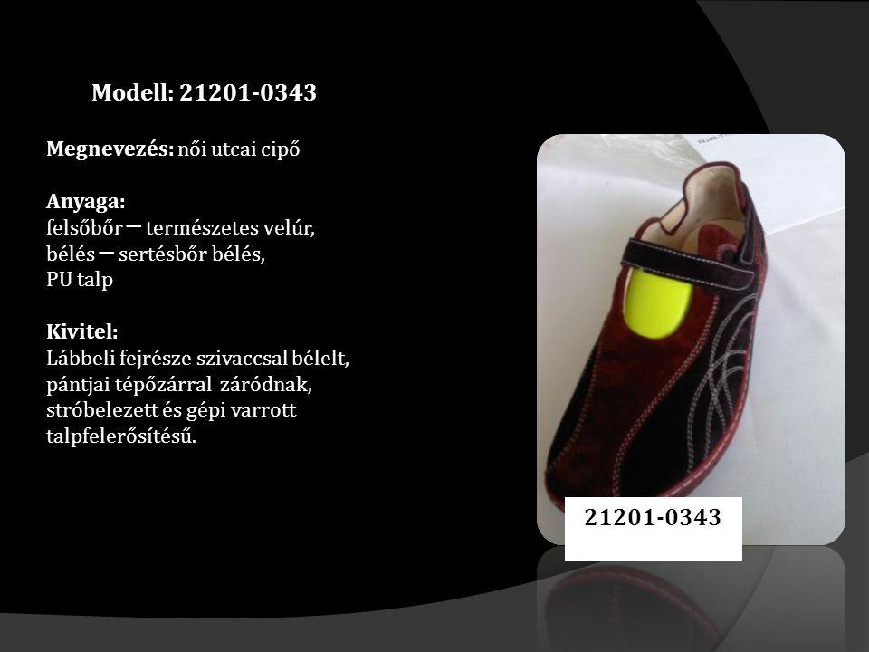 Modell: 21201-0343 Megnevezés: női utcai cipő Anyaga: felsőbőr ─ természetes velúr, bélés ─ sertésbőr bélés, PU talp Kivitel: Lábbeli fejrésze szivaccsal bélelt, pántjai tépőzárral záródnak, stróbelezett és gépi varrott talpfelerősítésű.