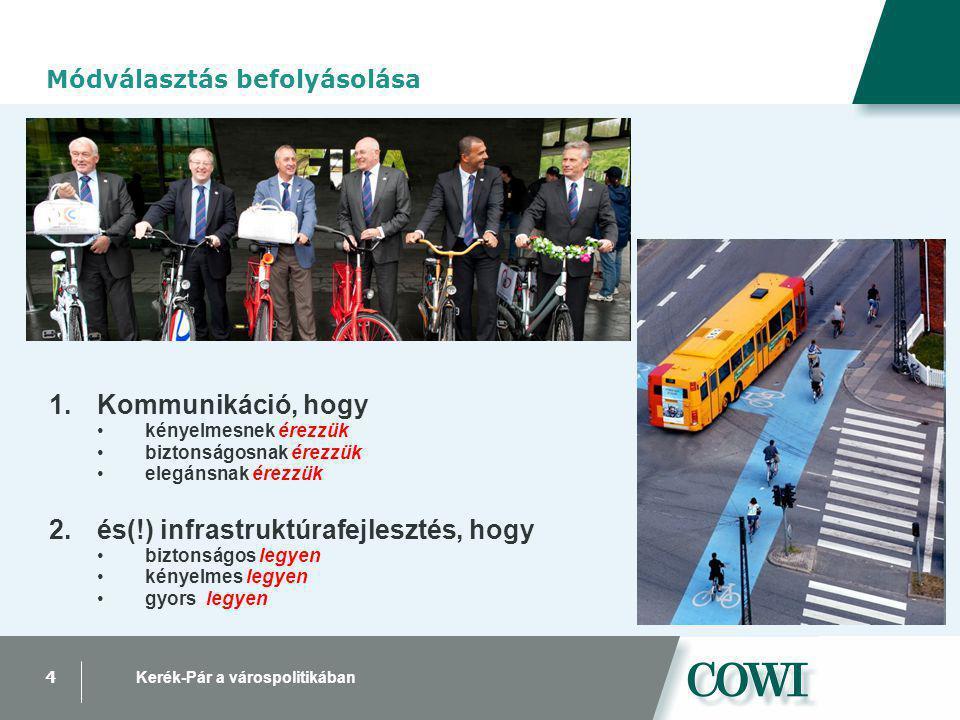 4 Kerék-Pár a várospolitikában Módválasztás befolyásolása 1.Kommunikáció, hogy kényelmesnek érezzük biztonságosnak érezzük elegánsnak érezzük 2.és(!) infrastruktúrafejlesztés, hogy biztonságos legyen kényelmes legyen gyors legyen