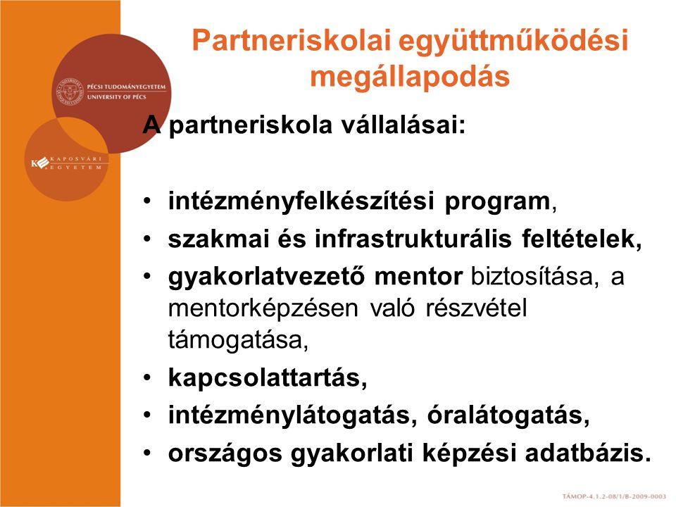 Partneriskolai együttműködési megállapodás A DRPK vállalásai: kapcsolattartás konzultációs lehetőség tájékoztatás országos adatbázis