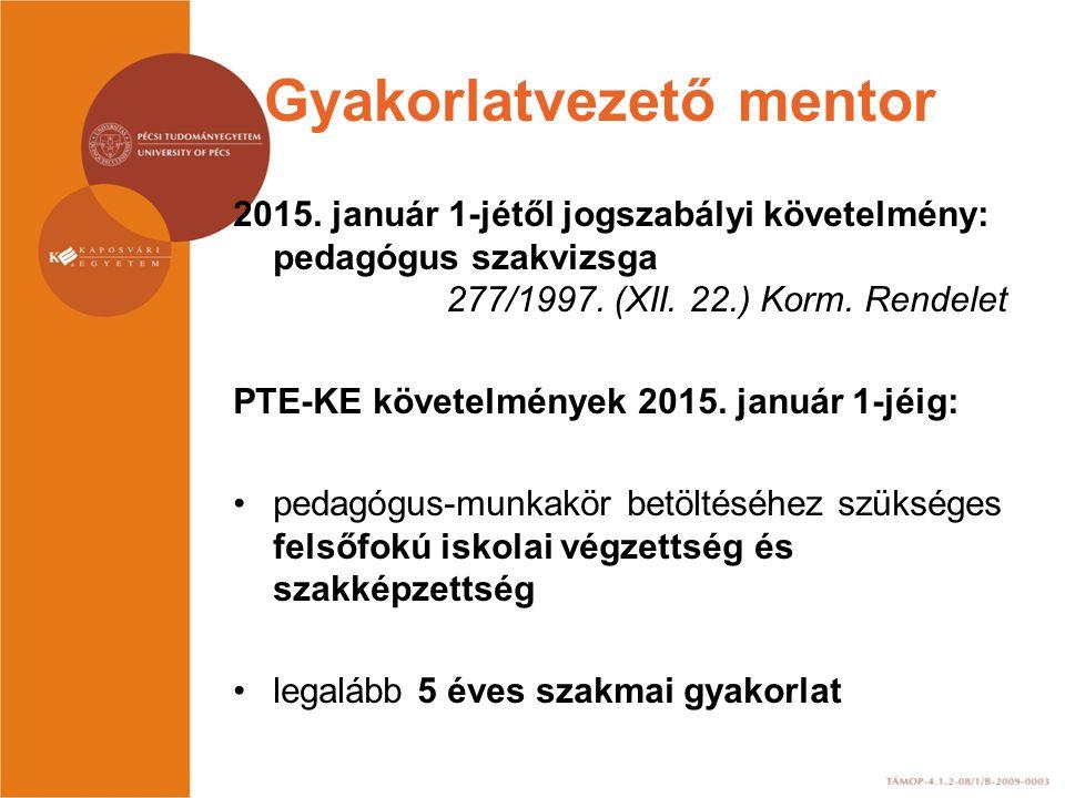 Gyakorlatvezető mentor 2013 júniusáig gyakorlatvezető mentori végzettség megszerzése.