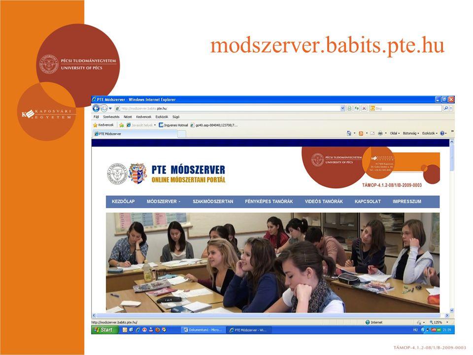 További projekteredmények Projekthonlap http://pedtamop412b.pte.hu Részvétel az országos hálózat kialakításában, pécsi konzultációk A központ minőségbiztosítási rendszerének kiépítése.