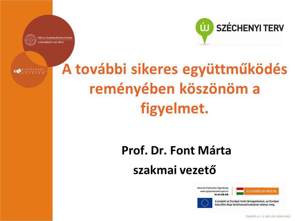 A további sikeres együttműködés reményében köszönöm a figyelmet. Prof. Dr. Font Márta szakmai vezető