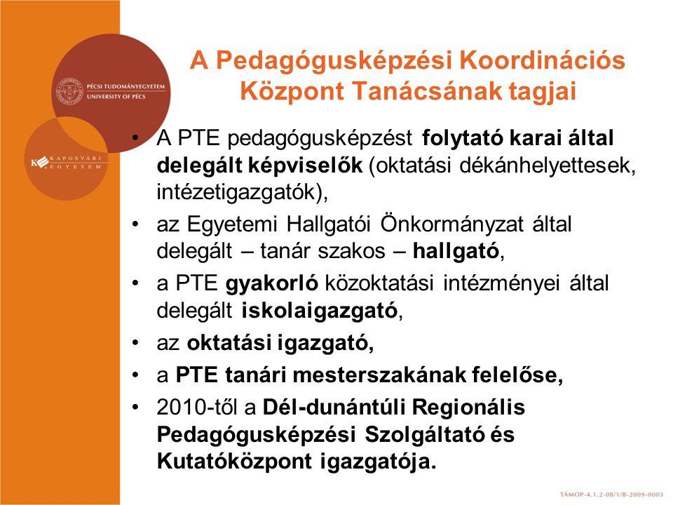 A PKK tevékenysége, feladatai A pedagógusképzés területén folytatott oktatómunka, valamint az ezzel összefüggő gyakorlati képzés összehangolása a PTE-n, elsősorban: a tanári mesterképzésre vonatkozóan.