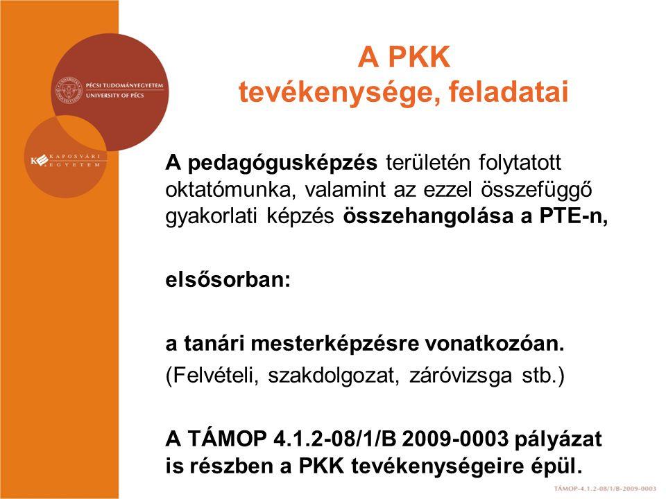 A PKK Tanácsa által elfogadott dokumentumok, tájékoztató anyagok és a kari PKK- koordinátorok elérhetősége http://mesterkepzes.pte.hu/menu/44 http://mesterkepzes.pte.hu/menu/38