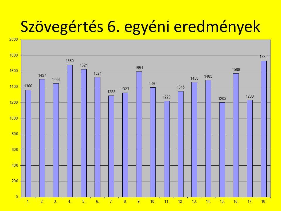 Szövegértés 6. egyéni eredmények