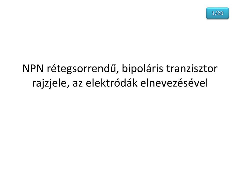 NPN rétegsorrendű, bipoláris tranzisztor rajzjele, az elektródák elnevezésével