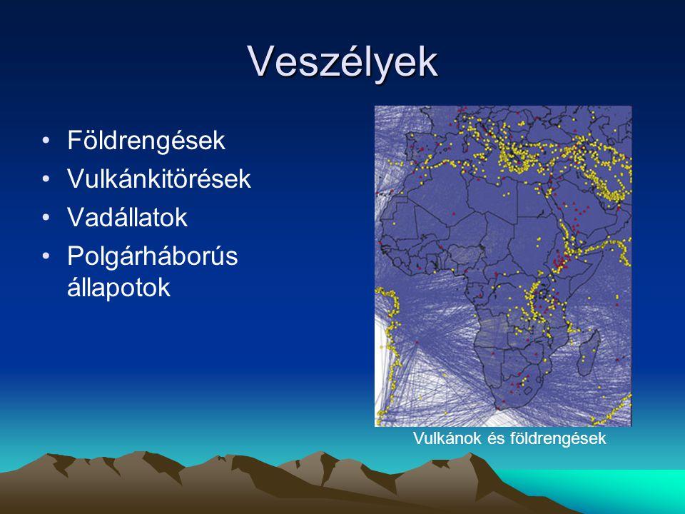 Veszélyek Földrengések Vulkánkitörések Vadállatok Polgárháborús állapotok Vulkánok és földrengések