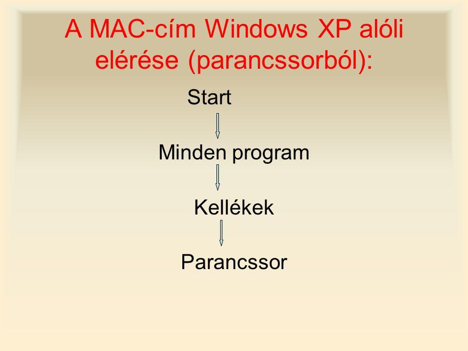 A MAC-cím Windows XP alóli elérése (parancssorból): Start Minden program Kellékek Parancssor