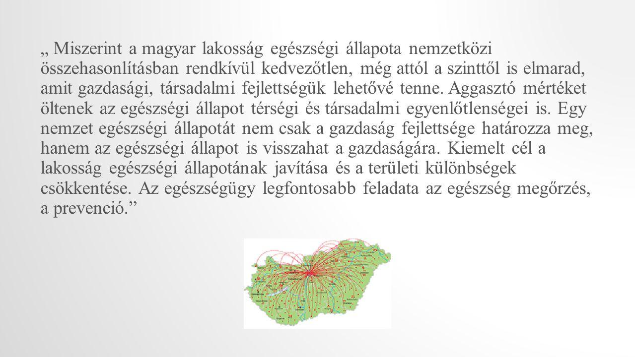 """"""" Miszerint a magyar lakosság egészségi állapota nemzetközi összehasonlításban rendkívül kedvezőtlen, még attól a szinttől is elmarad, amit gazdasági,"""