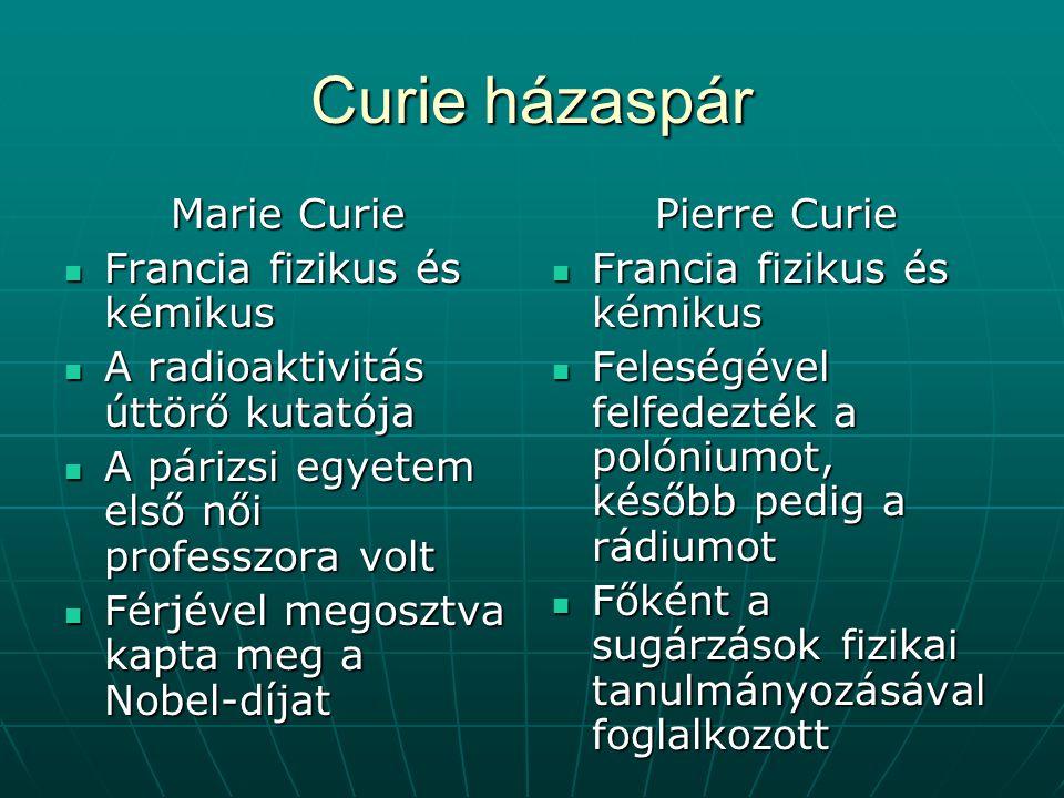 Curie házaspár Marie Curie Francia fizikus és kémikus Francia fizikus és kémikus A radioaktivitás úttörő kutatója A radioaktivitás úttörő kutatója A p