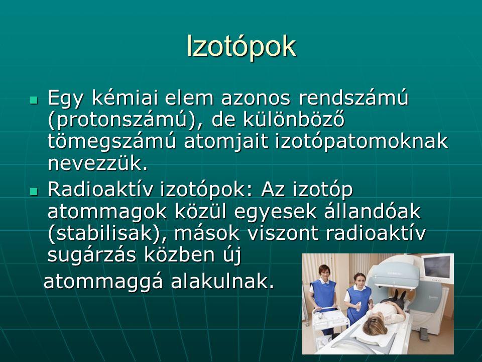 Izotópok Egy kémiai elem azonos rendszámú (protonszámú), de különböző tömegszámú atomjait izotópatomoknak nevezzük. Egy kémiai elem azonos rendszámú (