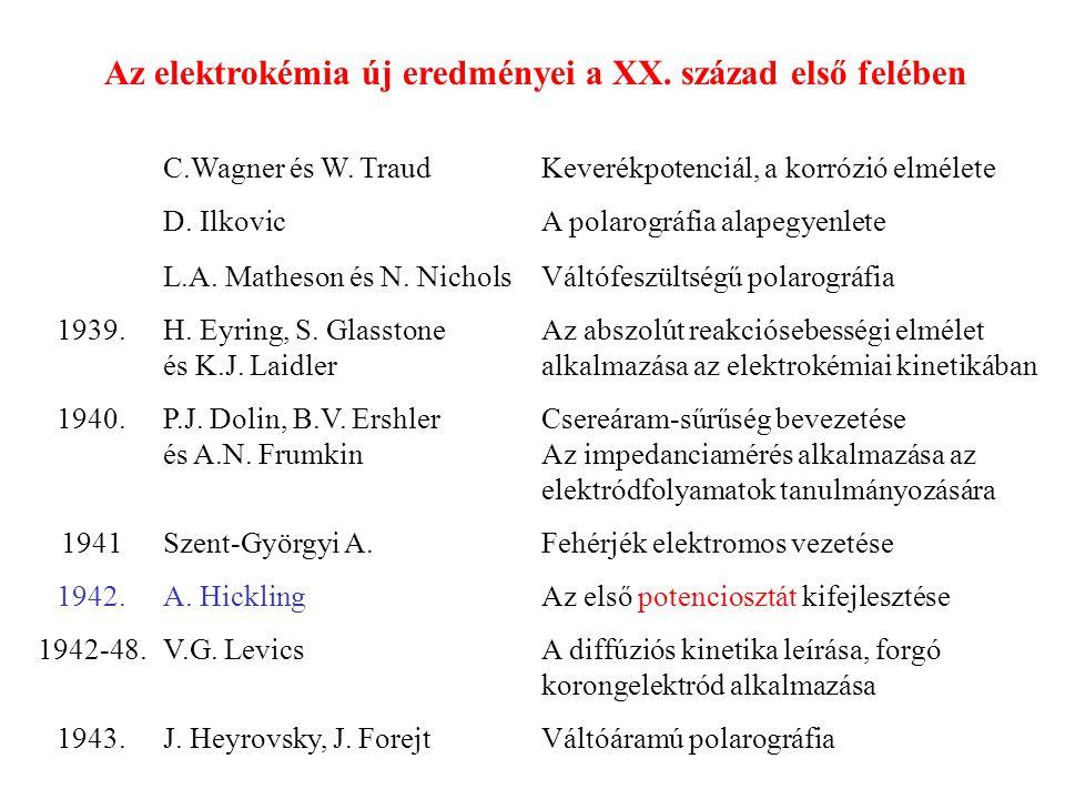 Az elektrokémia új eredményei a XX. század első felében C.Wagner és W. TraudKeverékpotenciál, a korrózió elmélete D. IlkovicA polarográfia alapegyenle