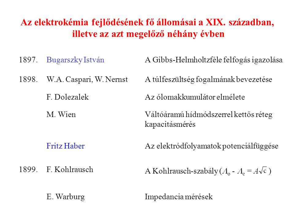 Az elektrokémia új eredményei a XX.század első felében 1900.A.