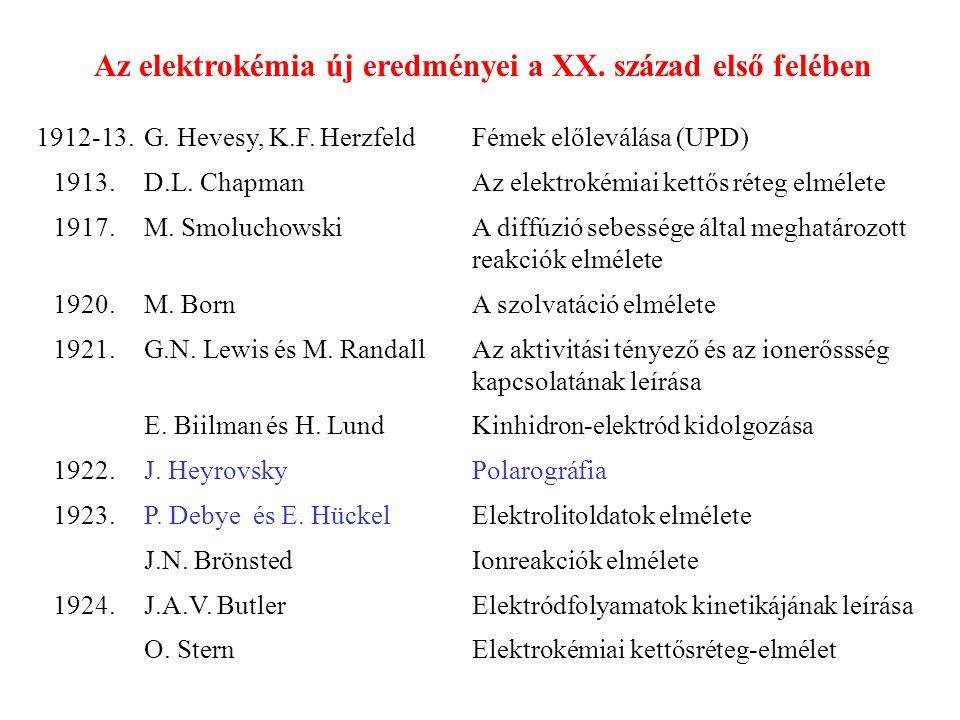 Az elektrokémia új eredményei a XX. század első felében 1912-13.G. Hevesy, K.F. HerzfeldFémek előleválása (UPD) 1913.D.L. ChapmanAz elektrokémiai kett