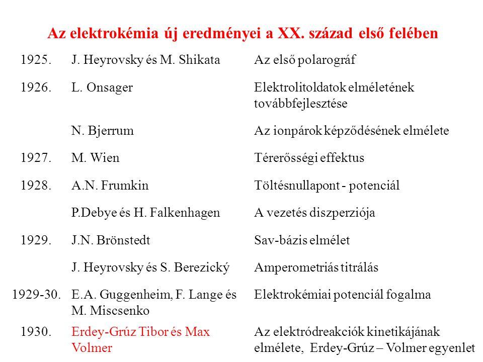 Az elektrokémia új eredményei a XX. század első felében 1925.J. Heyrovsky és M. ShikataAz első polarográf 1926.L. OnsagerElektrolitoldatok elméletének