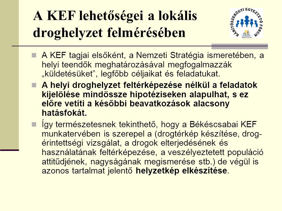"""A KEF lehetőségei a lokális droghelyzet felmérésében A KEF tagjai elsőként, a Nemzeti Stratégia ismeretében, a helyi teendők meghatározásával megfogalmazzák """"küldetésüket , legfőbb céljaikat és feladatukat."""