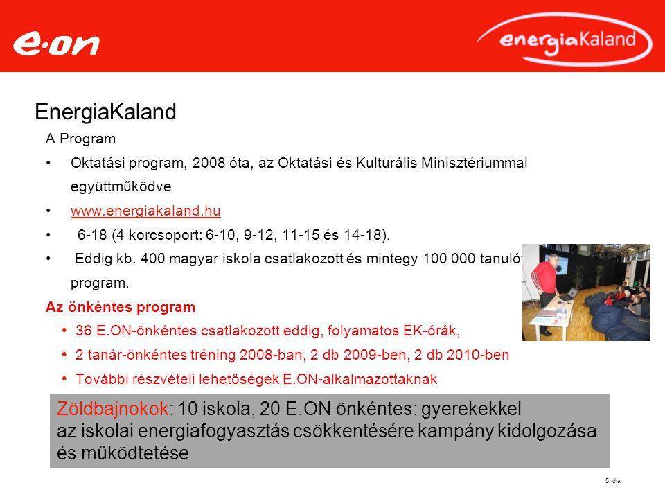 5. dia A Program Oktatási program, 2008 óta, az Oktatási és Kulturális Minisztériummal együttműködve www.energiakaland.hu 6-18 (4 korcsoport: 6-10, 9-