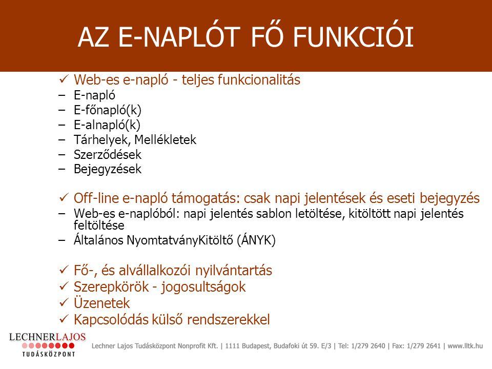 Web-es e-napló - teljes funkcionalitás –E-napló –E-főnapló(k) –E-alnapló(k) –Tárhelyek, Mellékletek –Szerződések –Bejegyzések Off-line e-napló támogat