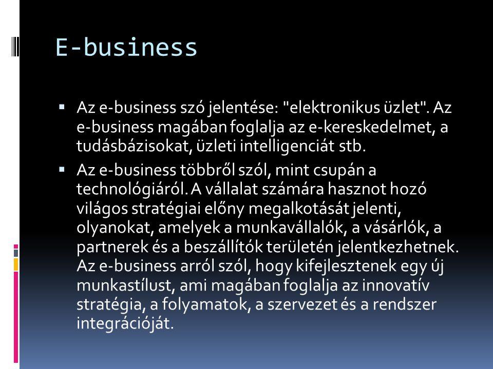 E-business definíciók  · olyan üzleti környezet, ahol a szereplők működésük során az információs technológia eszközeit internetes környezetben használják - Báthory Balázs a Webigen Rt.