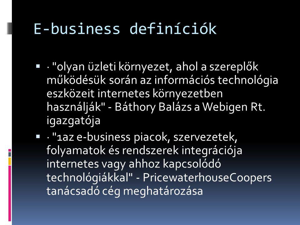 E-business definíciók  · az e-business az üzleti folyamatok Internetes technológiákon alapuló támogatása - az IBM meghatározása szerint  · az e-business, azaz az elektronikus üzletvitel nem más, mint kereskedelmi, üzleti és adminisztratív tranzakciók megvalósítása az informatika és a telekommunikáció segítségével - KPMG Consulting tanácsadó vállalat szerint