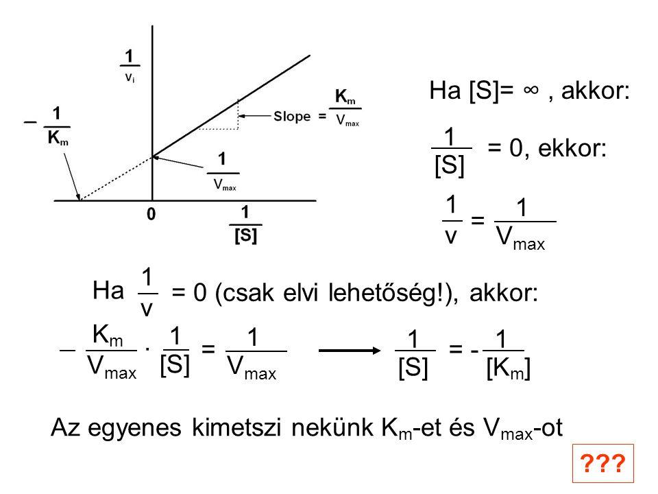 Ha [S]= ∞, akkor: 1 [S] = 0, ekkor: V max 1 v 1 = Ha v 1 = 0 (csak elvi lehetőség!), akkor: KmKm V max · 1 [S] V max 1 = 1 [S] 1 [K m ] = - Az egyenes kimetszi nekünk K m -et és V max -ot ???