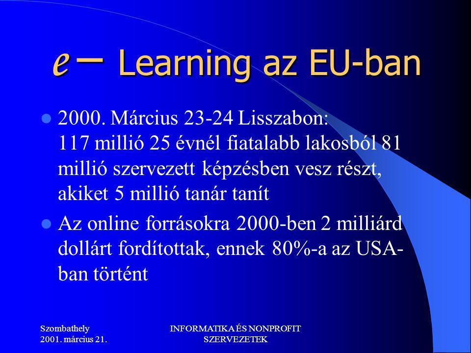 Szombathely 2001. március 21. INFORMATIKA ÉS NONPROFIT SZERVEZETEK e – Learning az EU-ban 2000.