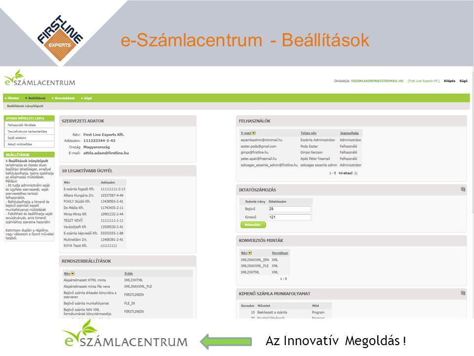 e-Számlacentrum - Beállítások Az Innovatív Megoldás !