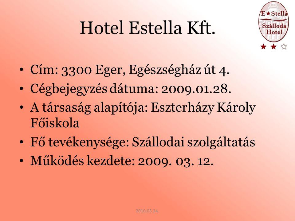 Hotel Estella Kft. Cím: 3300 Eger, Egészségház út 4.