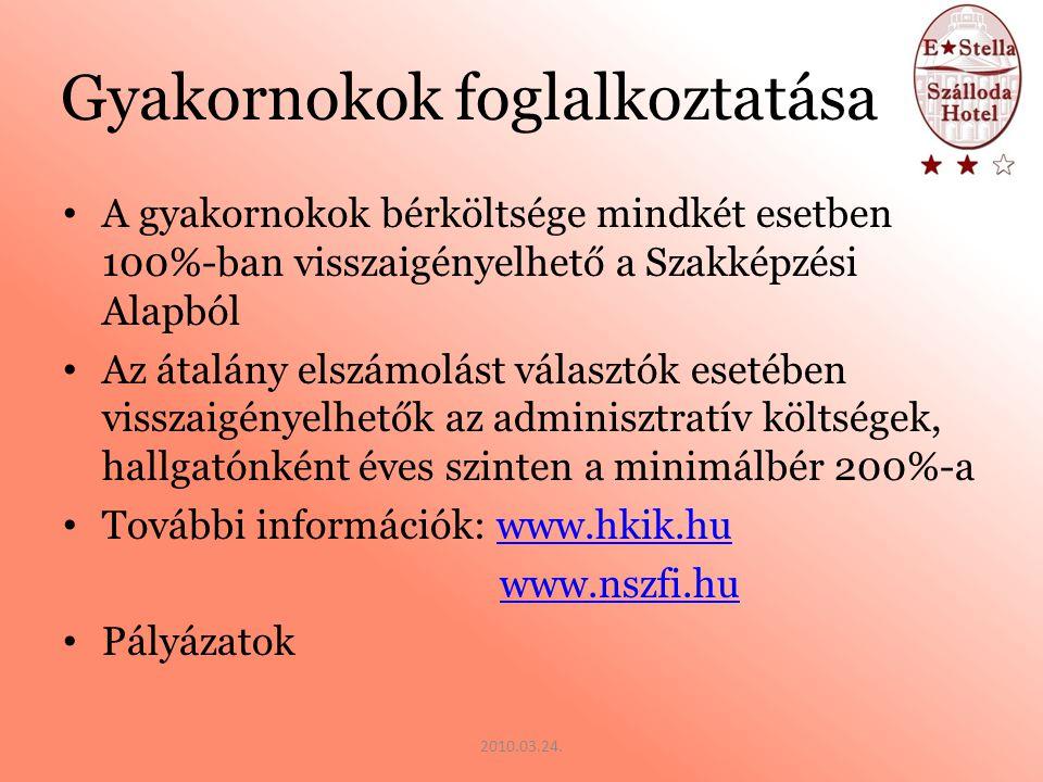 Kötelezettségek HKIK akkreditáció NSZFI felé bejelentkezési kötelezettség A hallgatók folyamatos bejelentése a HKIK, az NSZFI valamint az APEH felé Éves bevallás (NSZFI) Kötelező felelősségbiztosítás a gyakornokokra Haladási napló vezetés 2010.03.24.