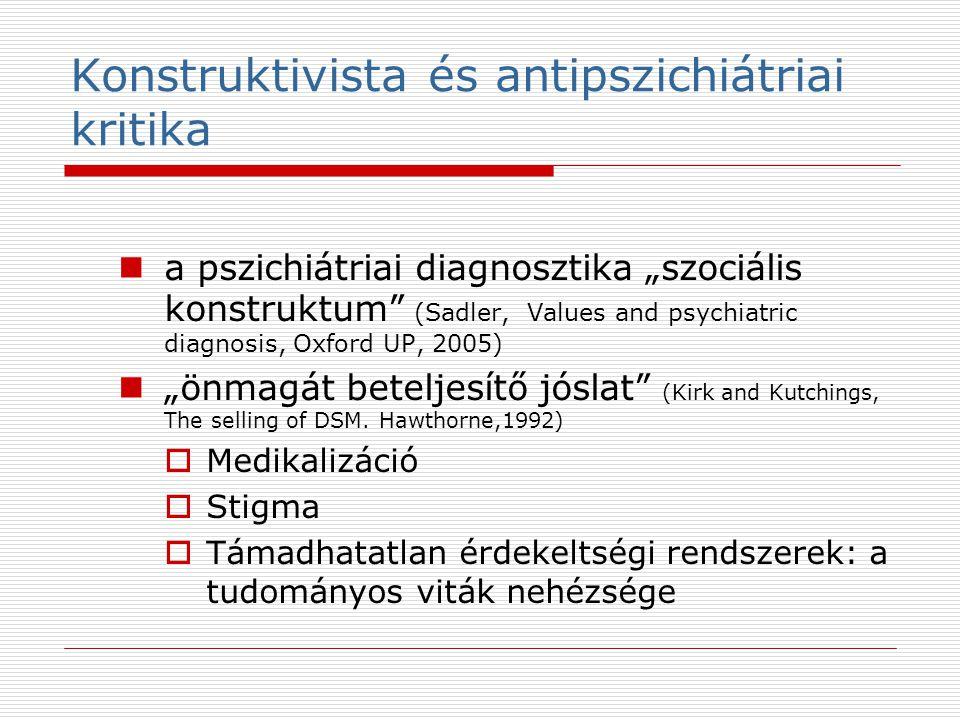 """Konstruktivista és antipszichiátriai kritika a pszichiátriai diagnosztika """"szociális konstruktum (Sadler, Values and psychiatric diagnosis, Oxford UP, 2005) """"önmagát beteljesítő jóslat (Kirk and Kutchings, The selling of DSM."""
