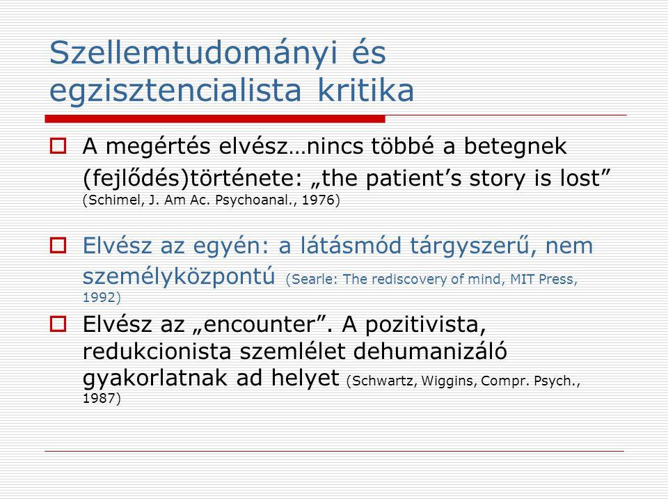 """Szellemtudományi és egzisztencialista kritika  A megértés elvész…nincs többé a betegnek (fejlődés)története: """"the patient's story is lost"""" (Schimel,"""