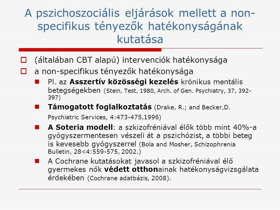 A pszichoszociális eljárások mellett a non- specifikus tényezők hatékonyságának kutatása  (általában CBT alapú) intervenciók hatékonysága  a non-specifikus tényezők hatékonysága Pl.