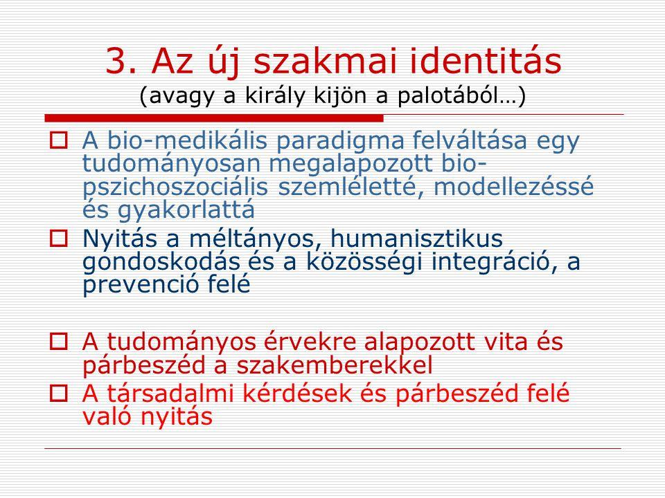 3. Az új szakmai identitás (avagy a király kijön a palotából…)  A bio-medikális paradigma felváltása egy tudományosan megalapozott bio- pszichoszociá