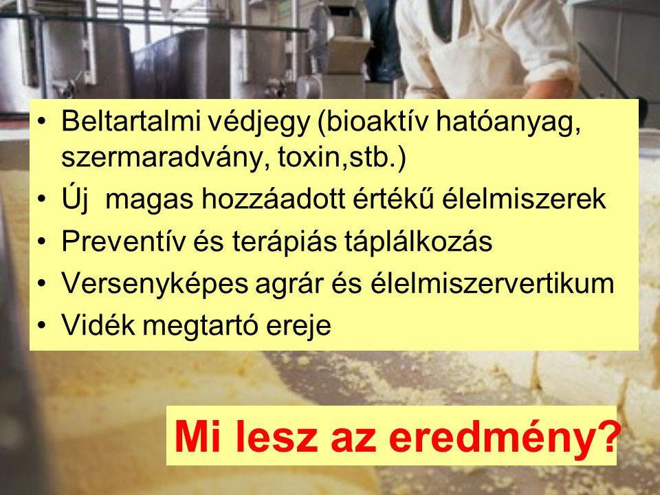 Beltartalmi védjegy (bioaktív hatóanyag, szermaradvány, toxin,stb.) Új magas hozzáadott értékű élelmiszerek Preventív és terápiás táplálkozás Versenyk