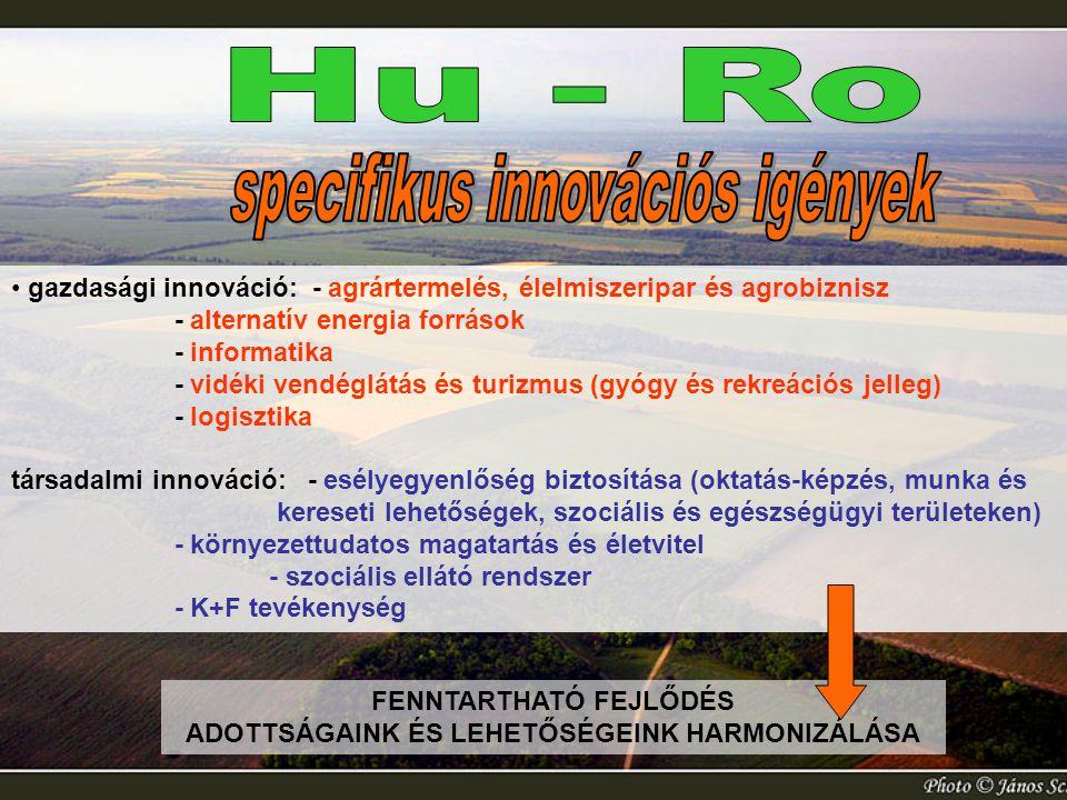 gazdasági innováció: - agrártermelés, élelmiszeripar és agrobiznisz - alternatív energia források - informatika - vidéki vendéglátás és turizmus (gyóg
