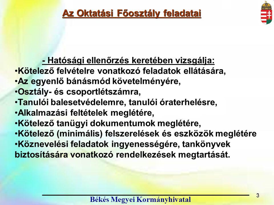 14 Békés Megyei Kormányhivatal Jogszabályok 14 A nemzeti köznevelésről szóló 2011.