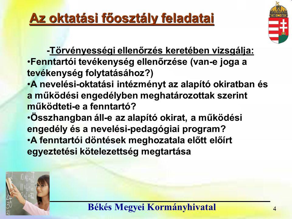 15 Békés Megyei Kormányhivatal 15 ● Az oktatás szabályozására vonatkozó egyes törvények módosításáról szóló 2013.