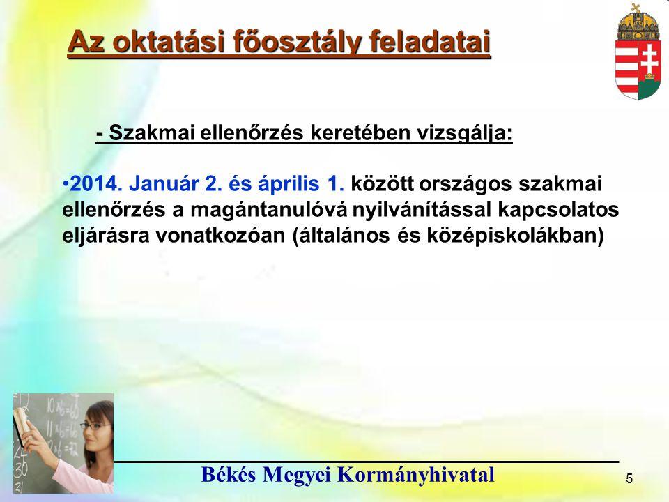 6 Békés Megyei Kormányhivatal Az Oktatási Főosztály feladatai ● Érettségi vizsgák szervezése -a 2012/13.