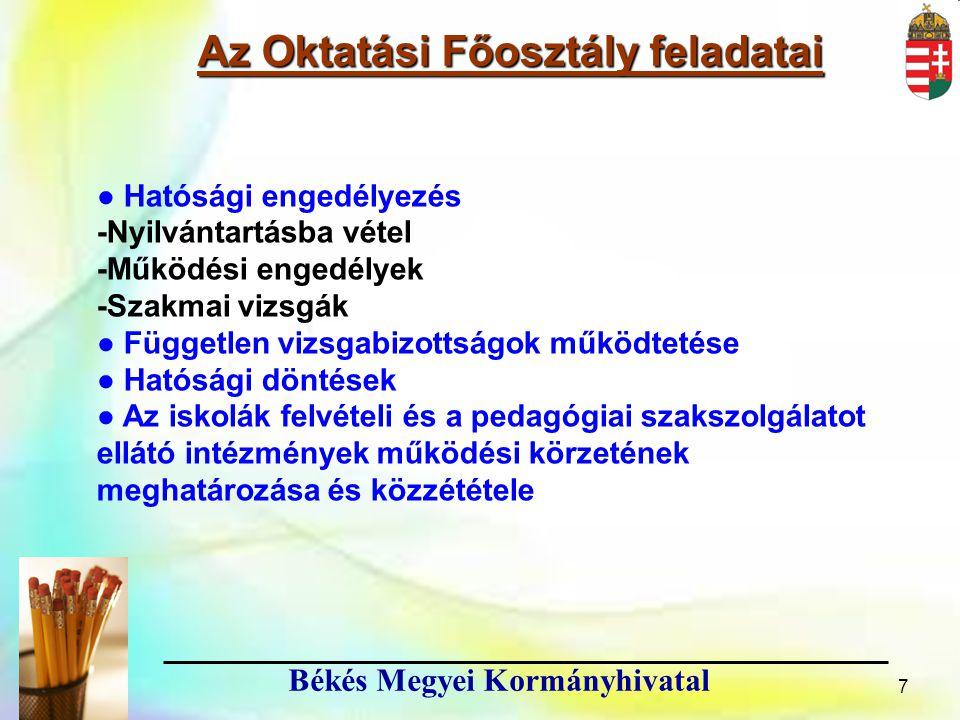 8 Békés Megyei Kormányhivatal Az Oktatási Főosztály feladatai 8 Közreműködés a megyei feladatellátási, intézményhálózat-működtetési és köznevelés-fejlesztési terv elkészítésében (2013.