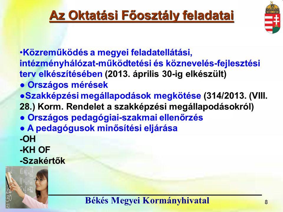 9 Békés Megyei Kormányhivatal A tanév rendjében meghatározott feladatok 1.