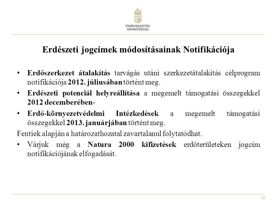 10 Erdészeti jogcímek módosításainak Notifikációja Erdőszerkezet átalakítás tarvágás utáni szerkezetátalakítás célprogram notifikációja 2012.