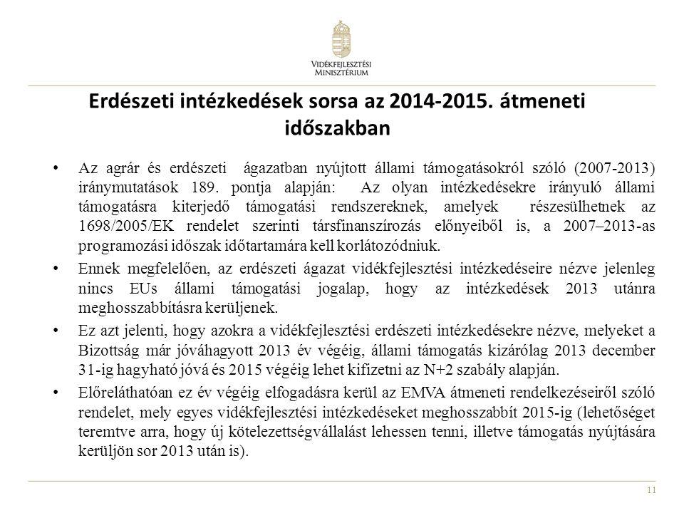 11 Erdészeti intézkedések sorsa az 2014-2015.