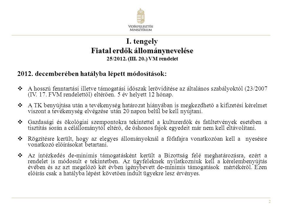 2 I. tengely Fiatal erdők állománynevelése 25/2012.