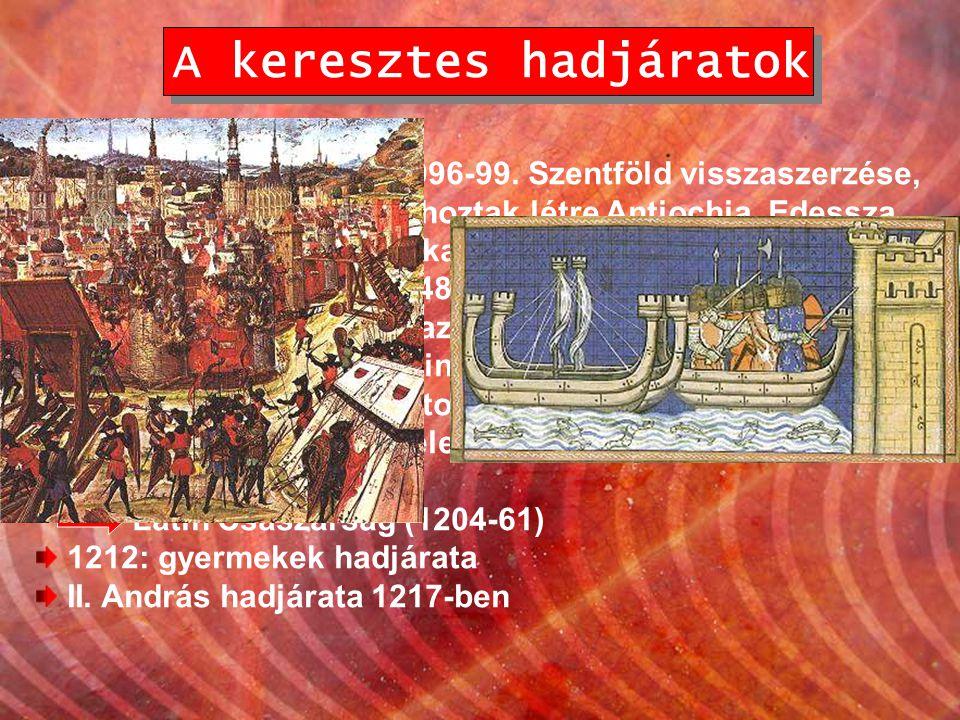 A keresztes hadjáratok I. keresztes hadjárat: 1096-99. Szentföld visszaszerzése, majd ott 3 önálló államot hoztak létre Antiochia, Edessza és Jeruzsál