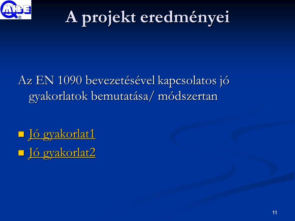 11 A projekt eredményei Az EN 1090 bevezetésével kapcsolatos jó gyakorlatok bemutatása/ módszertan Jó gyakorlat1 Jó gyakorlat1 Jó gyakorlat1 Jó gyakorlat1 Jó gyakorlat2 Jó gyakorlat2 Jó gyakorlat2 Jó gyakorlat2