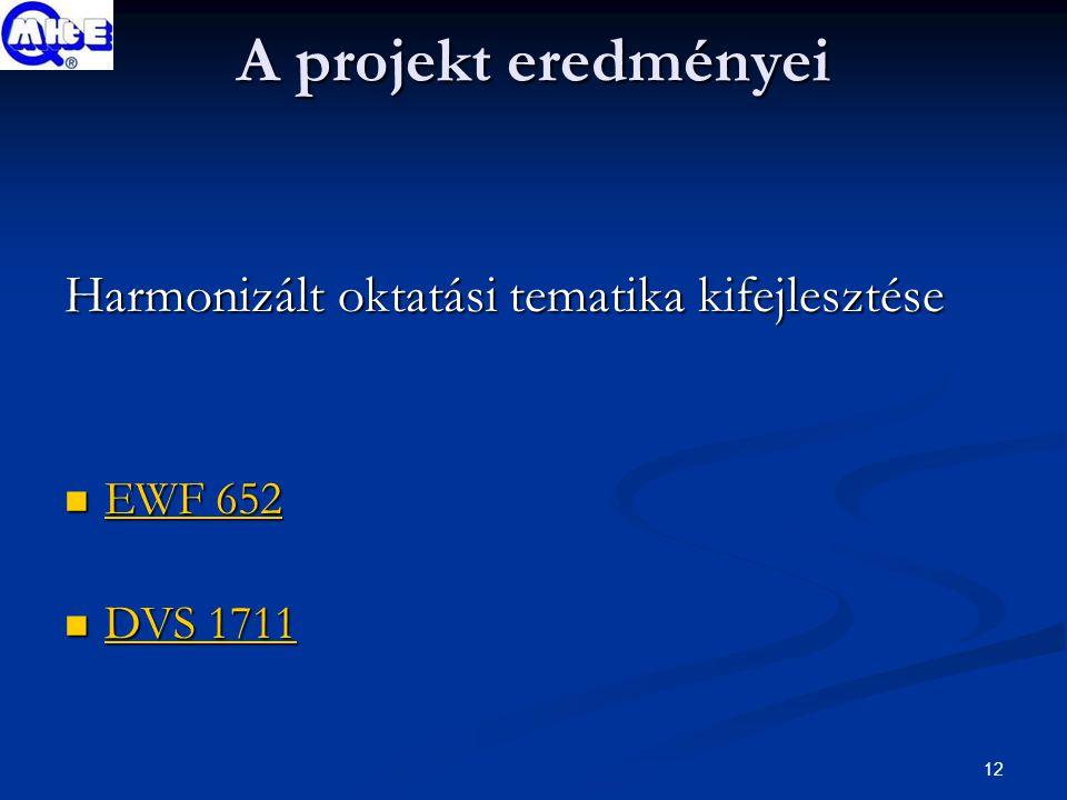 12 A projekt eredményei Harmonizált oktatási tematika kifejlesztése EWF 652 EWF 652 EWF 652 EWF 652 DVS 1711 DVS 1711 DVS 1711 DVS 1711