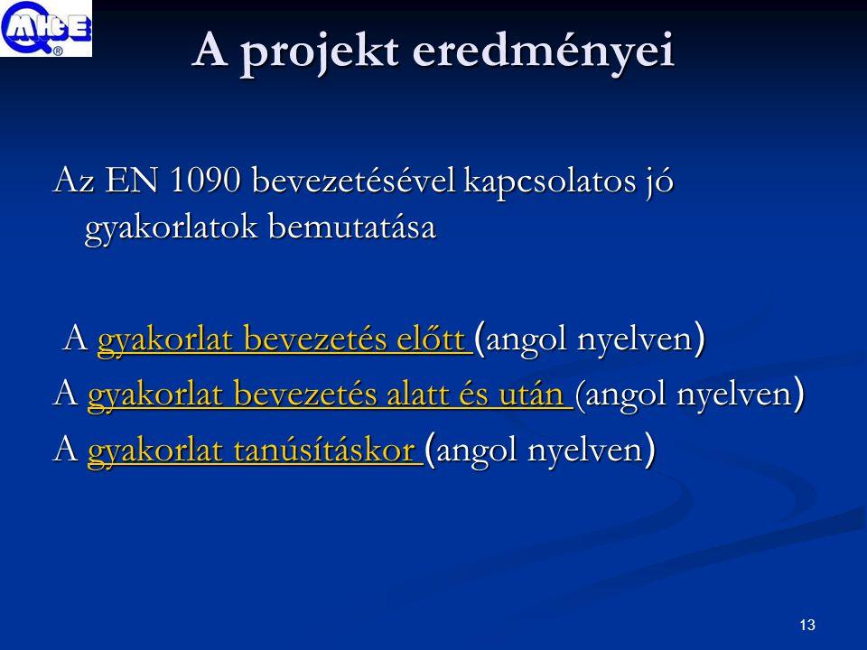 13 A projekt eredményei Az EN 1090 bevezetésével kapcsolatos jó gyakorlatok bemutatása A gyakorlat bevezetés előtt ( angol nyelven ) A gyakorlat bevezetés előtt ( angol nyelven )gyakorlat bevezetés előtt gyakorlat bevezetés előtt A gyakorlat bevezetés alatt és után (angol nyelven ) gyakorlat bevezetés alatt és után gyakorlat bevezetés alatt és után A gyakorlat tanúsításkor ( angol nyelven ) gyakorlat tanúsításkor gyakorlat tanúsításkor