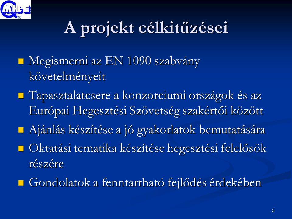 5 A projekt célkitűzései Megismerni az EN 1090 szabvány követelményeit Megismerni az EN 1090 szabvány követelményeit Tapasztalatcsere a konzorciumi országok és az Európai Hegesztési Szövetség szakértői között Tapasztalatcsere a konzorciumi országok és az Európai Hegesztési Szövetség szakértői között Ajánlás készítése a jó gyakorlatok bemutatására Ajánlás készítése a jó gyakorlatok bemutatására Oktatási tematika készítése hegesztési felelősök részére Oktatási tematika készítése hegesztési felelősök részére Gondolatok a fenntartható fejlődés érdekében Gondolatok a fenntartható fejlődés érdekében