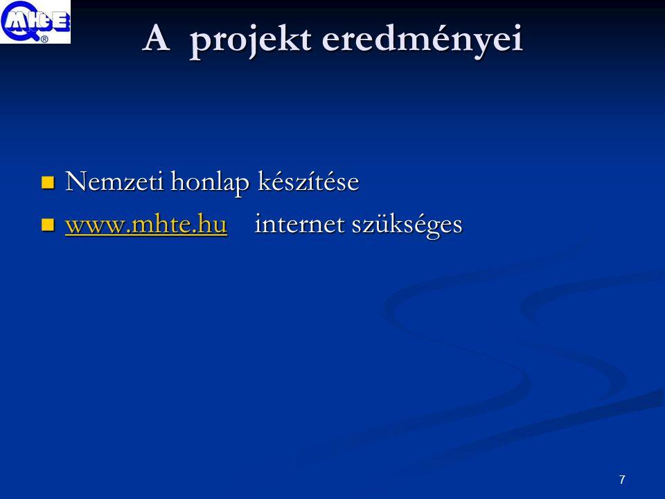 7 A projekt eredményei Nemzeti honlap készítése Nemzeti honlap készítése www.mhte.hu internet szükséges www.mhte.hu internet szükséges www.mhte.hu